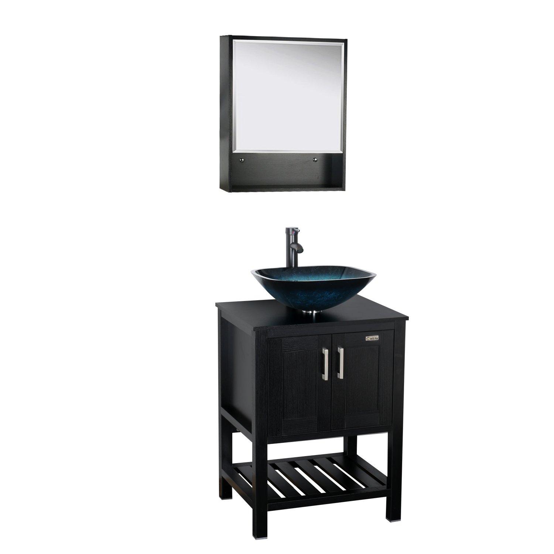 Eclife 22'' x 28'' Large Storage Bathroom Medicine Cabinet Organizer Mirror Storage Wood Adjustable Wall Mounted Mirror Cabinet Black C01 by Eclife (Image #3)