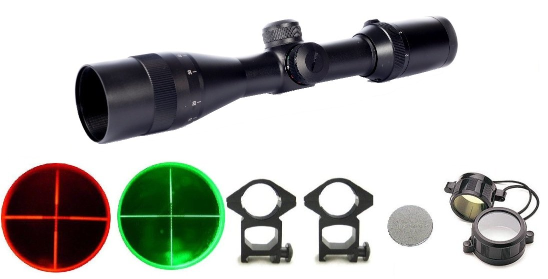 Ultimate Arms Gear 2-12x30 mm Dual Red & Green Illuminated P4 Mil Dot Reticle Rifle Hunting SniperTactical Compact Scope + Flip Up Lens Caps, Ring Mounts, Battery & Lens Cleaning Kit