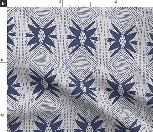 Geometric Fabric - Geometric Star and Stitch Navy Blue Line Stitch Star Geo Geometric Print on Fabric by The Yard - Sport Lycra for Swimwear Performance Leggings Apparel Fashion