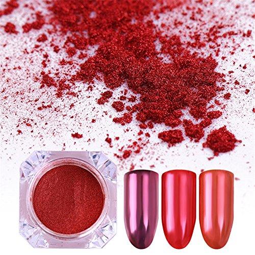 (BORN PRETTY 1Box Nail Art Mirror Glitter Powder Pure Rose Red Magic Ultra-thin Manicure Chrome Pigment)