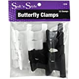 """Butterfly Clamps 1-dozen * Small Size: 2"""" * Black & White"""