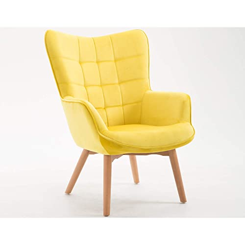 Yara Accent Chair in Sunshine with Tufted, Velvet Like Upholstery And Wood Legs, by Artum Hill