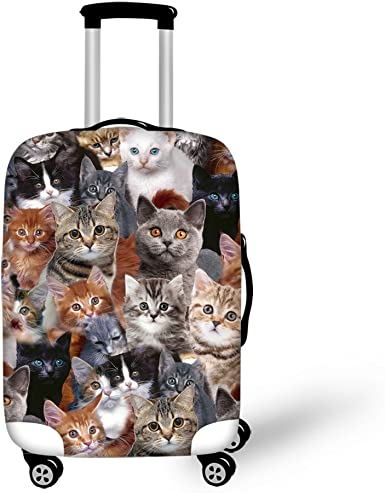 Colorful Cat Printed Business Luggage Protector Travel Baggage Suitcase Cover 4 Size
