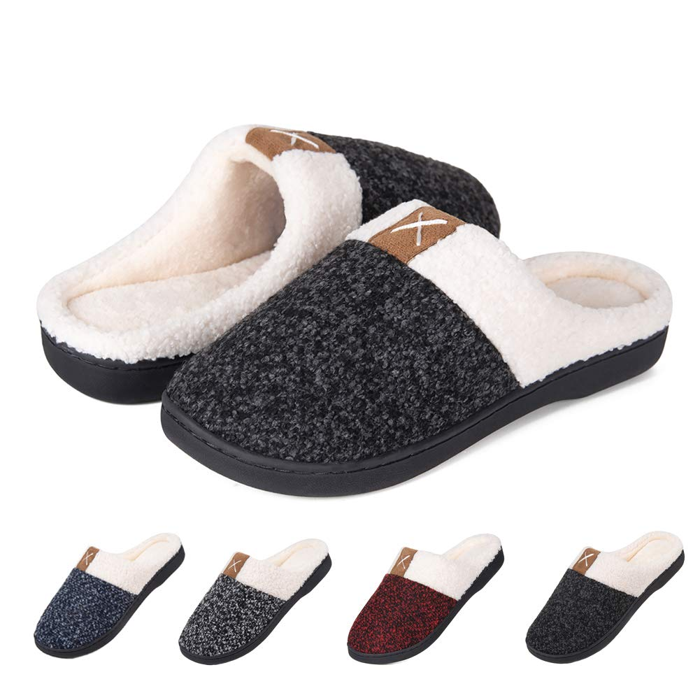 Men's House Shoes Women's House Slippers Warm Cotton Cozy Plush Fleece Memory Foam Lining Home Shoes Outdoor