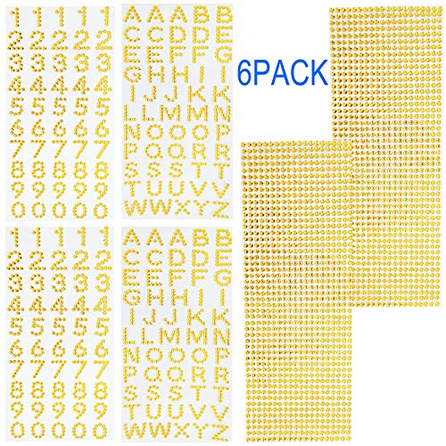 Alphanumeric Gemstone Border Stickers, Grad Cap Decoration Set Glitter for Graduation and More DIY Handicraft(6 Sheets Gold Color)
