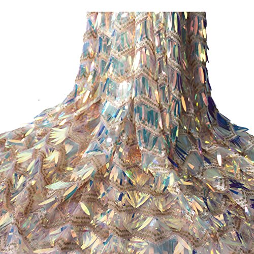 Aisunne African Glitter Sequin Lace Fabrics 5 Yards Nigerian French Lace Fabric for Wedding Party Dresses (Champagne) by Aisunne (Image #1)