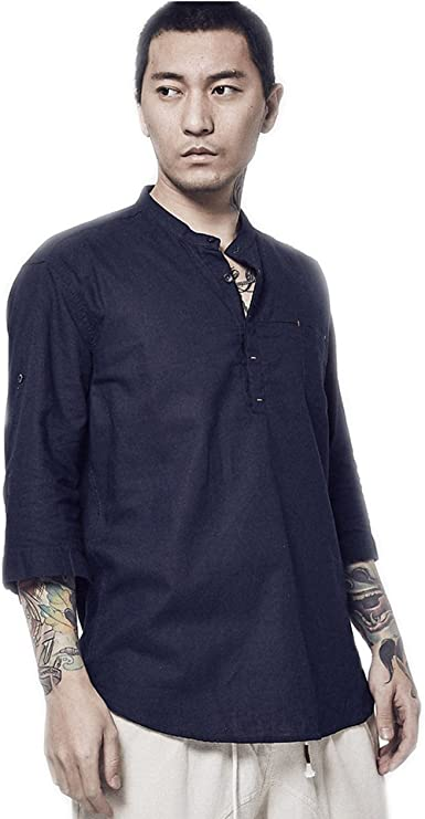 BaronHong Mens Elegante Cuello Chino de Manga Corta Camiseta ...