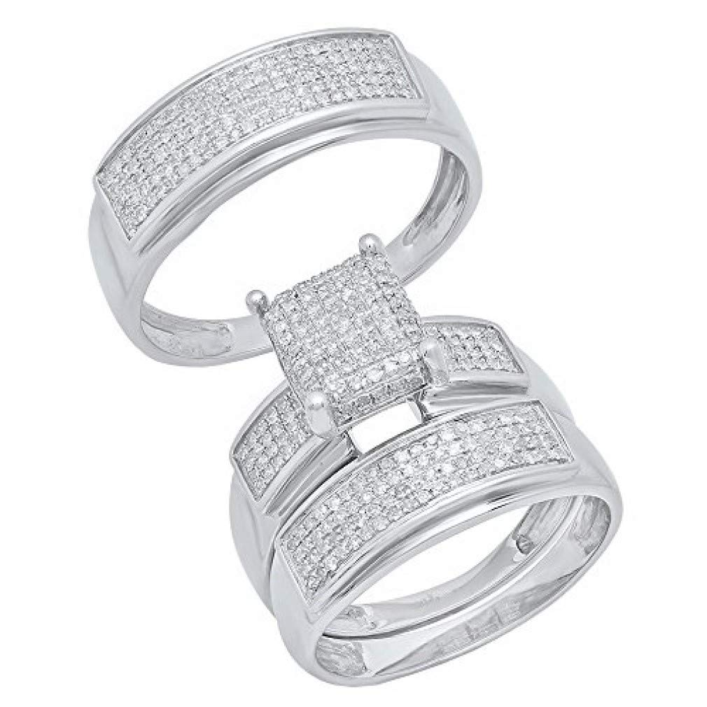Dazzlingrock Collection 0.65 Carat (ctw) Round Diamond Men's & Women's Micro Pave Engagement Ring Trio Set, Sterling Silver