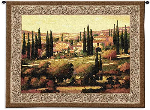 Tuscan Gold by Max Hayslette | Woven Tapestry Wall Art Hanging | Italian Villa Countryside Landscape | 100% Cotton USA Size 53x40
