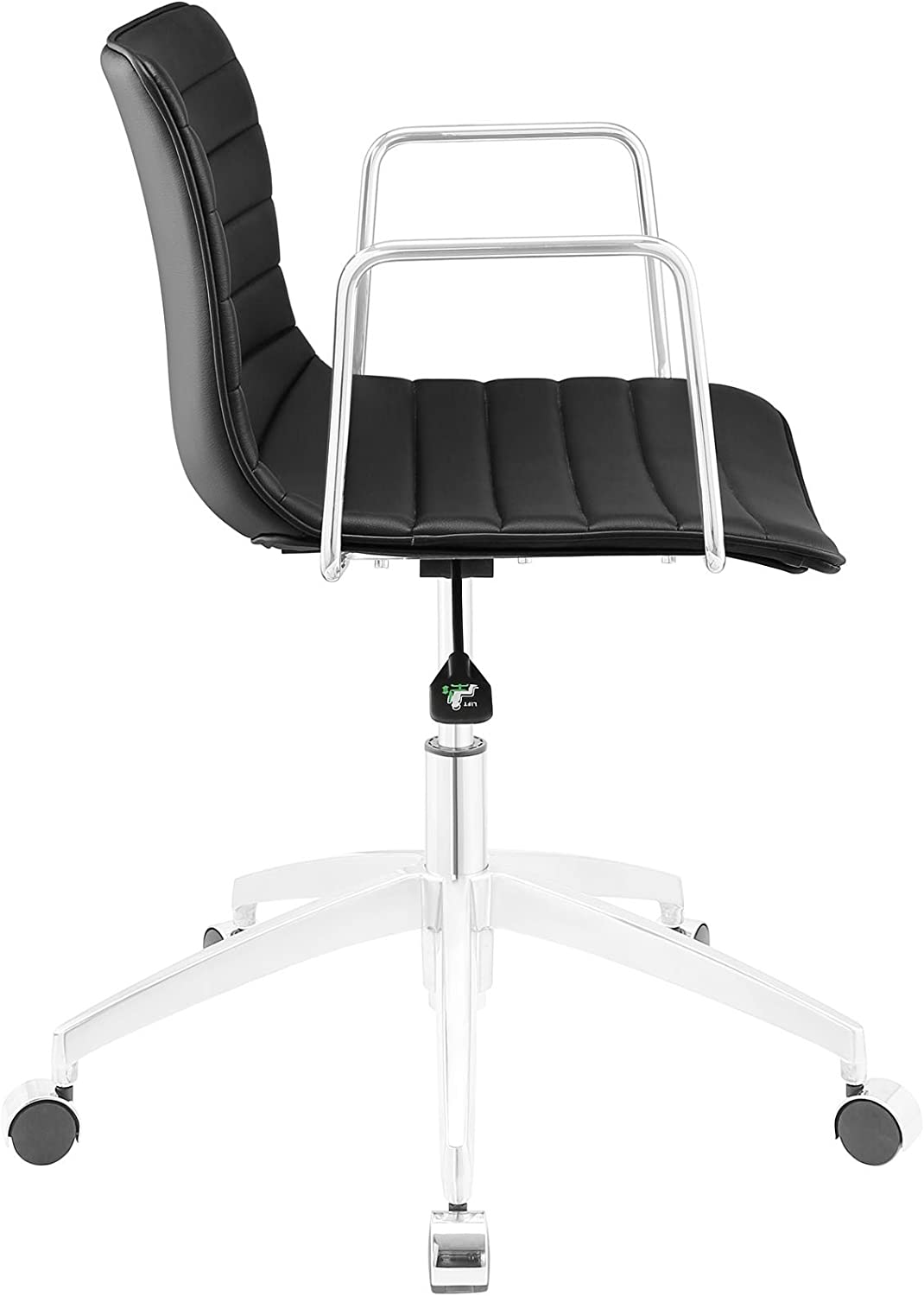Amazon Com Modway Celerity Ribbed Faux Leather Swivel Office Chair In Black Furniture Decor
