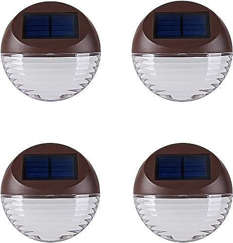 Solar Deck Lighting Wall Lights – 4 Pack Outdoor Wireless Solar Dock Step Road Marker Warm Light for Garden Path Stair Wall Driveway Lighting
