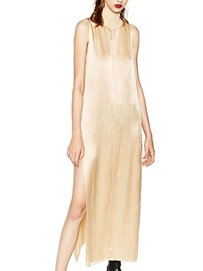 Zara Womens High neck sateen dress 5644/223