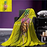 Live Laugh Love Custom blanket Tropical Pineapple Fruit with Sunglasses on Yellow Wood Board Joyful Print all weather blanket Multicolor size:60''x80''
