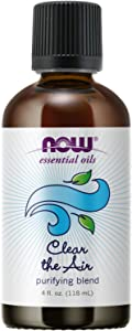 NOW Essential Oils, Clear the Air Oil Blend, Purifying Aromatherapy Scent, Blend of Pure Essential Oils, Steam Distilled, Vegan, Child Resistant Cap, 4-Ounce