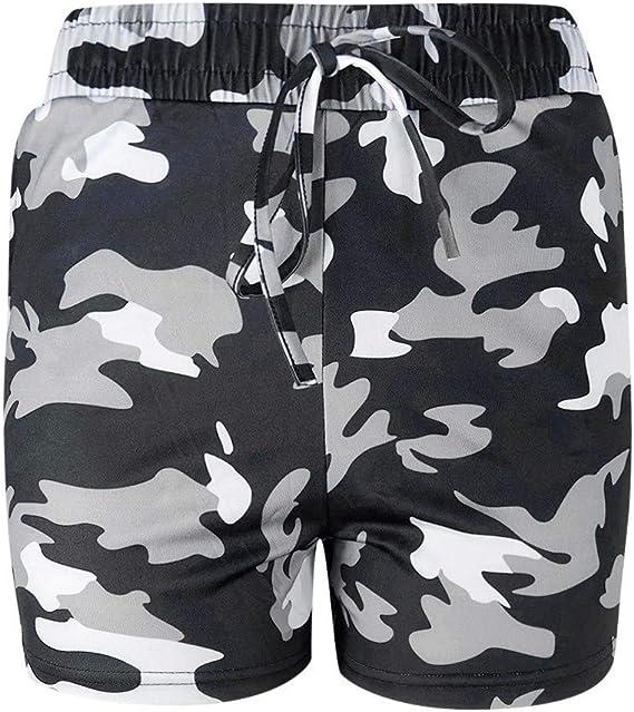 iYYVV Women Fashion Summer Shorts Elastic Waist Camo Print Shorts Summer Beach Casual Shorts