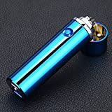 Electric Lighter USB Rechargeable Plasma Pulse Arc Lighter Windproof Flameless Creative Dual Arc Lighter for Cigar,Cigarette,Pipe,BBQ (Blue)