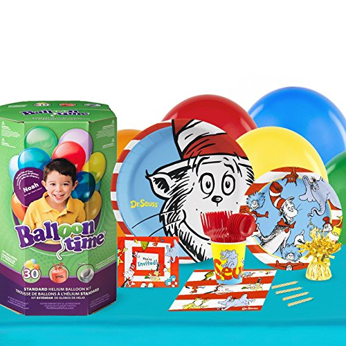 Dr Seuss Cat in the Hat Childrens Birthday Party Supplies - Tableware Party Pack with Helium (16)