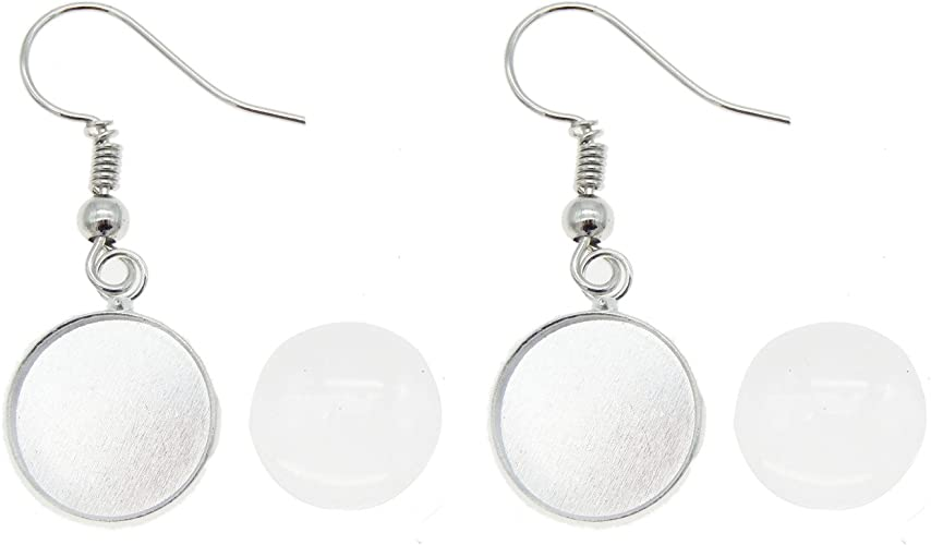 GraceAngie 40pcs Earring Wire Hook with 12mm Cabochon Pendant Settings 40pcs Glass Cabochons for DIY Jewelry Making