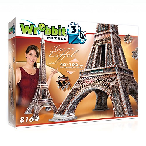 The Eiffel Tower 3D Jigsaw Puzzle Made by Wrebbit Puzz-3D, 816 Foam-Back Puzzle Pieces