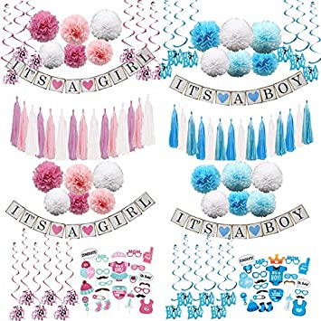 Kids Birthday Parties Decorations Supplies Craft 1Set Paper Crafts Baby Shower Its A Boy Girl