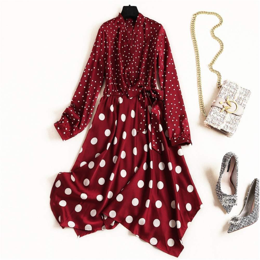 Large Polka Dot V-neck Dress Irregular A-line Skirt Long Sleeve Slim Mid-length Spring Dress,L