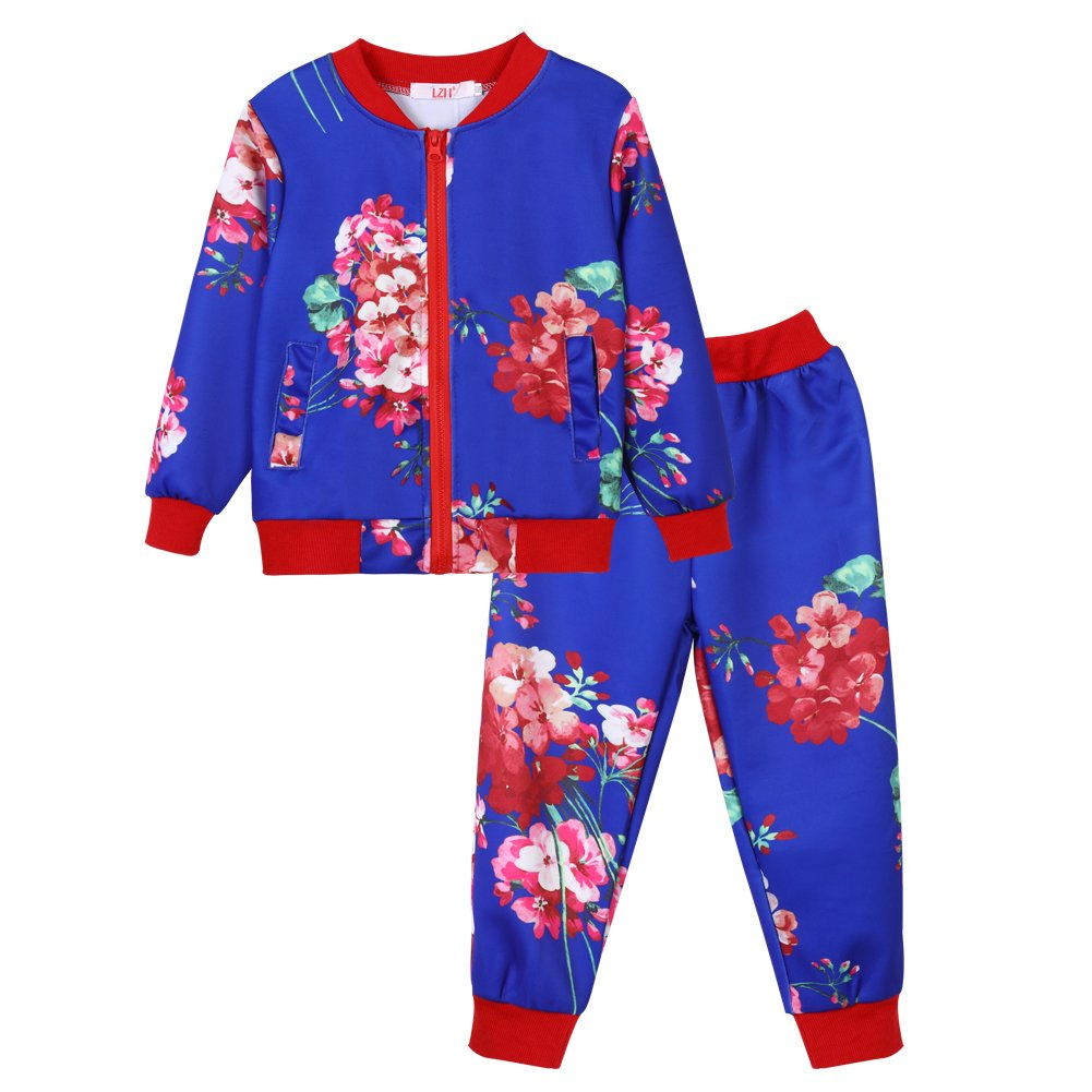 LZH Girls Tracksuit Outfits Joggers Clothes Floral Print Coat + Trousers Set S303-S316-EU