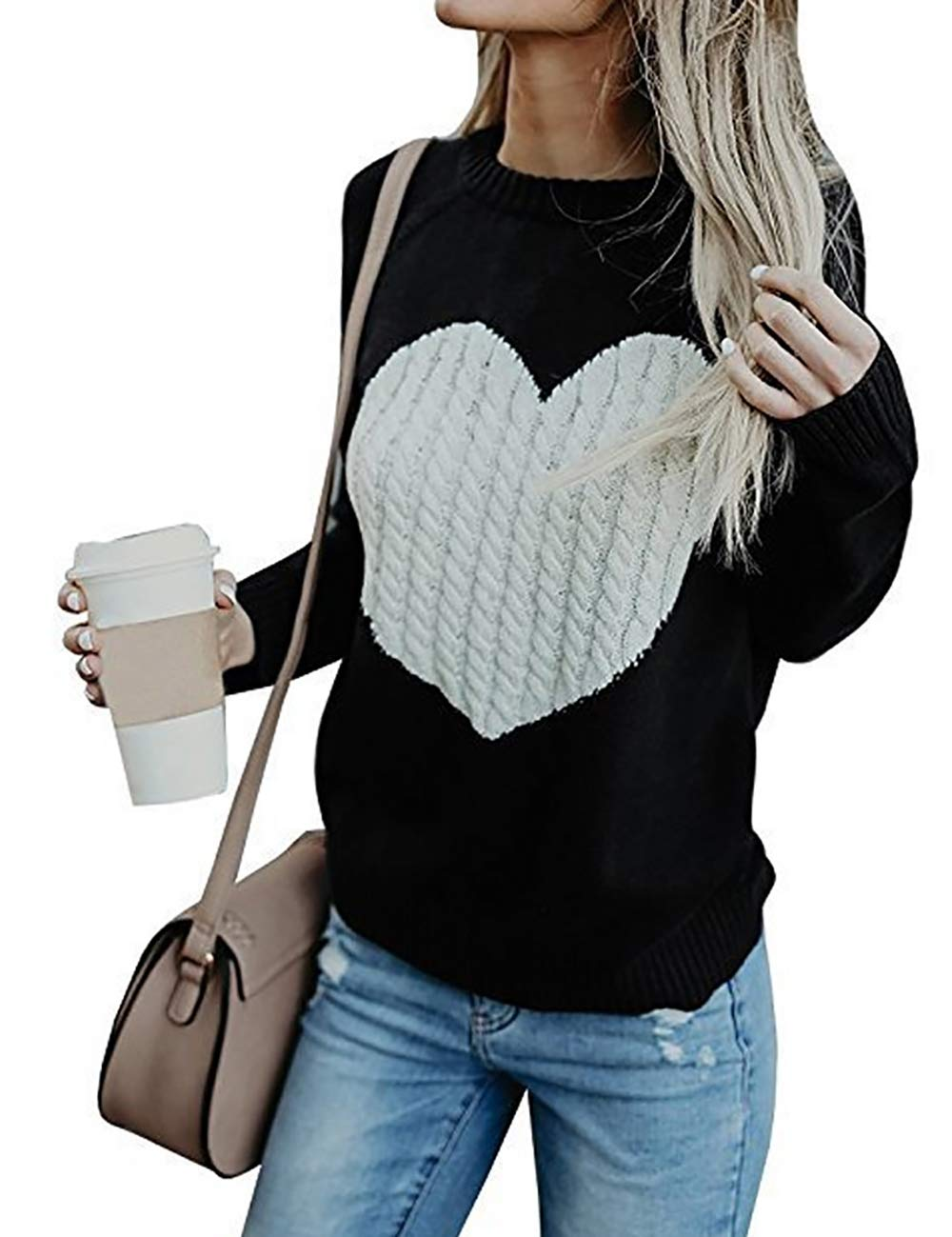 shermie Women's Pullover Sweaters Long Sleeve Crewneck Cute Heart Knitted Sweaters Black M