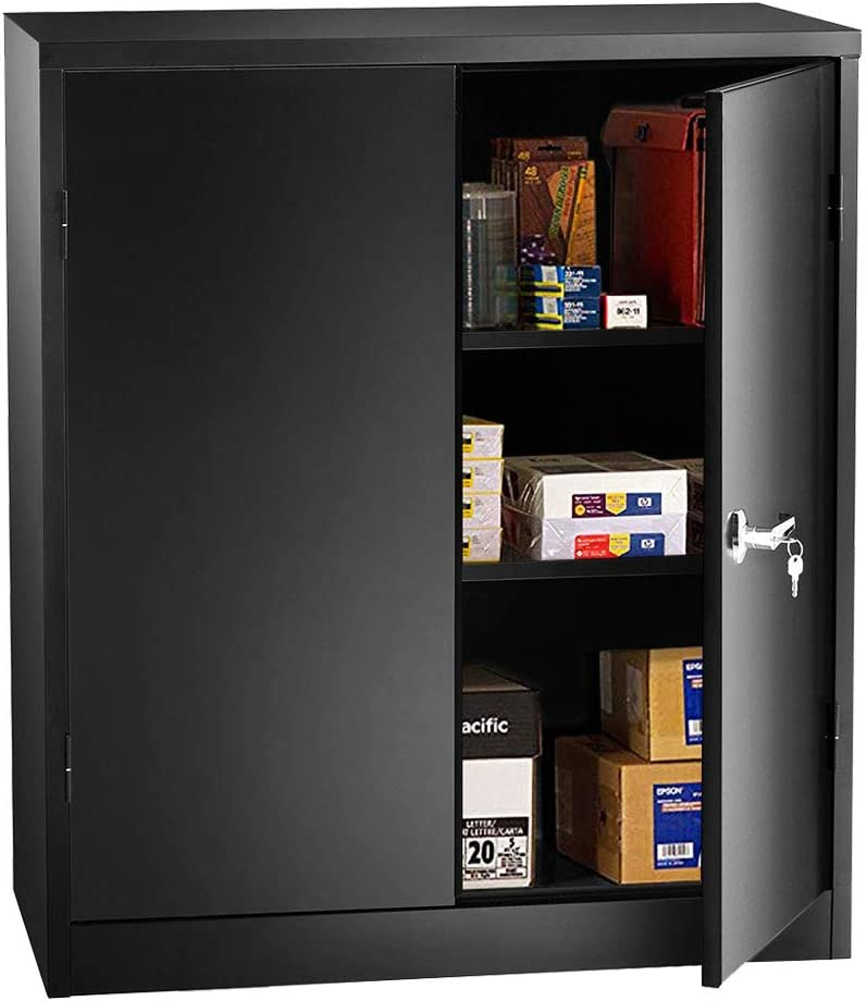 Steel Storage Cabinet with Doors, INVIE Lockable Metal Cabinet with 2 Adjustable Shelves Great for Garage, Kitchen Pantry, Office, Patio and Laundry Room(Black)