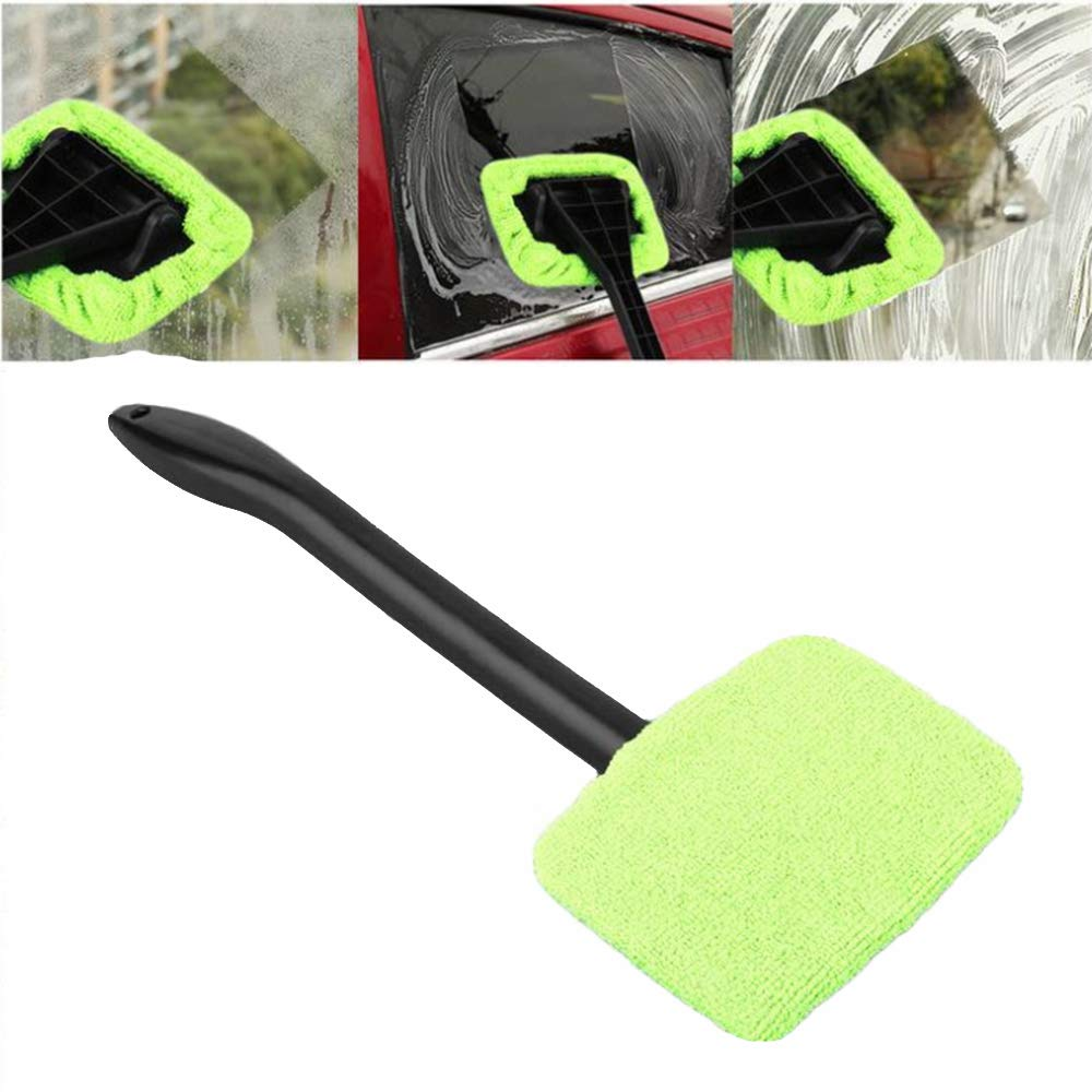 Green Car & Motorbike Care Automotive Fliyeong Car Window Glass Cleaning Brush Tools Portable Car Windshield Brush Microfiber Cloth Long Handled Window Brush