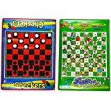 Checkers Board Game and Snakes & Ladders Game, Set of 2 Jumbo Size, Foldable, Waterproof Mats and Pieces, by Dimple