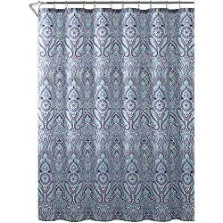 "Blue Teal Purple Cloth Fabric Shower Curtain: Floral Paisley Print Design, 72"" x 72"" inch"
