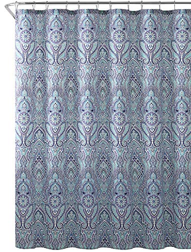 Hudson & Essex Blue Teal Purple Cloth Fabric Shower Curtain: Floral Paisley Print Design, 72