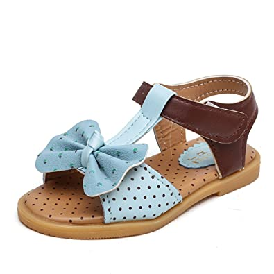 e0317a2d5c7a29 CYBLING Girls Flat Sandals Cute Bowknot Summer Open Toe Ankle Strap Sandal  for Kids (Toddler