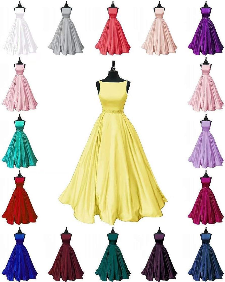 Fankeshi Abito da donna lungo da ballo in raso con perline, abito formale con tasche Oro Rosato