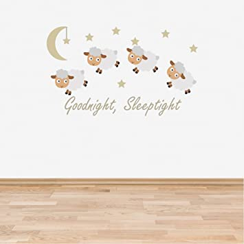 Full Colour Counting Sheep Neutral Nursery Wall Sticker Decal Goodnight  Sleeptight Baby Room Childrenu0027s Bedroom