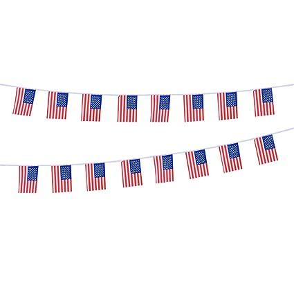 LUOEM Bandera americana Bunting Banner Patriotic Flag Decoraciones de patio 20 Bandera USA Flags Banner Decoraciones