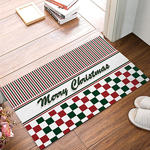 EZON-CH Modern Non Slip Bathroom Merry Christmas Geometric Check Red Green Stripes Mat Toilet Geometry Floor Rug Tea Mat Table Mat Carpet Pad(16IN X 24IN)