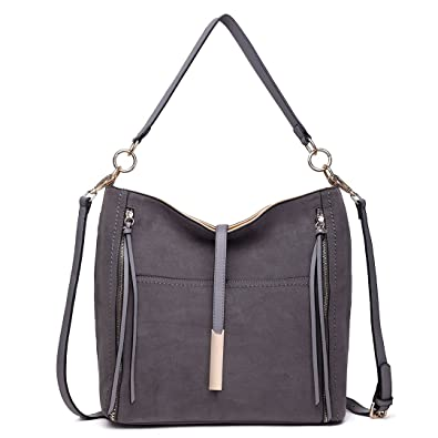 3e6ec1d58f Miss Lulu Women Hobos Shoulder Handbag Faux Pu Leather Suede Crossbody Bag  (1715 Grey)