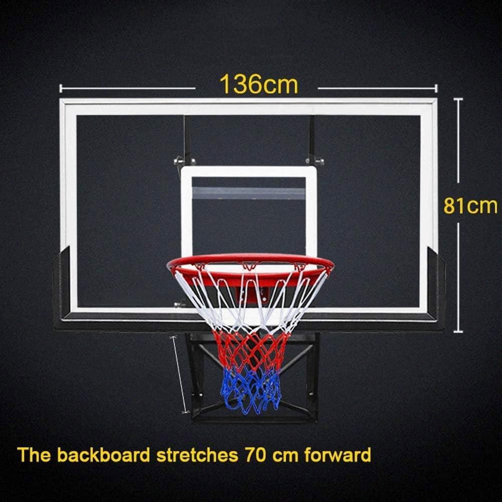 Parete del basamento di pallacanestro Indoor e Outdoor regolabile in altezza vetro temperato Canestro da pallacanestro Double Spring con rinforzi in acciaio Anello carrel campo di sollevamento 70cm