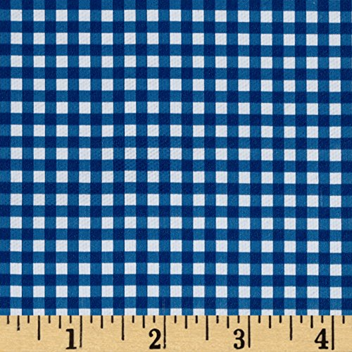 Fleece Backed Tablecloth Gingham Blue Fabric By The Yard