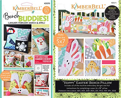 KIMBERBELL Bench Buddies (Jan-Apr)& Hoppy (Easter) Machine Embroidery CD 570+571