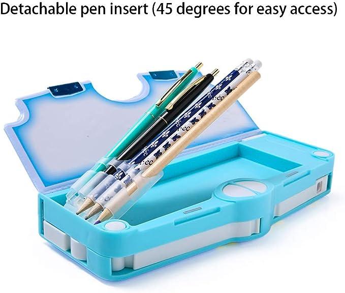 Estuche multifunción para lápices y bolígrafos, con tapa magnética plana, tapa dura, con un solo clic, ideal como regalo para niños, color Blue lion: Amazon.es: Oficina y papelería