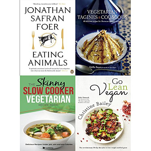 Eating animals, vegetarian tagines and couscous [hardcover], slow cooker vegetarian recipe book and go lean vegan 4 books collection set ()