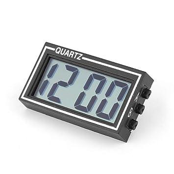 Zerone - Reloj Digital para salpicadero de Coche con Pantalla LCD y función de Hora, Fecha, con Soporte: Amazon.es: Electrónica