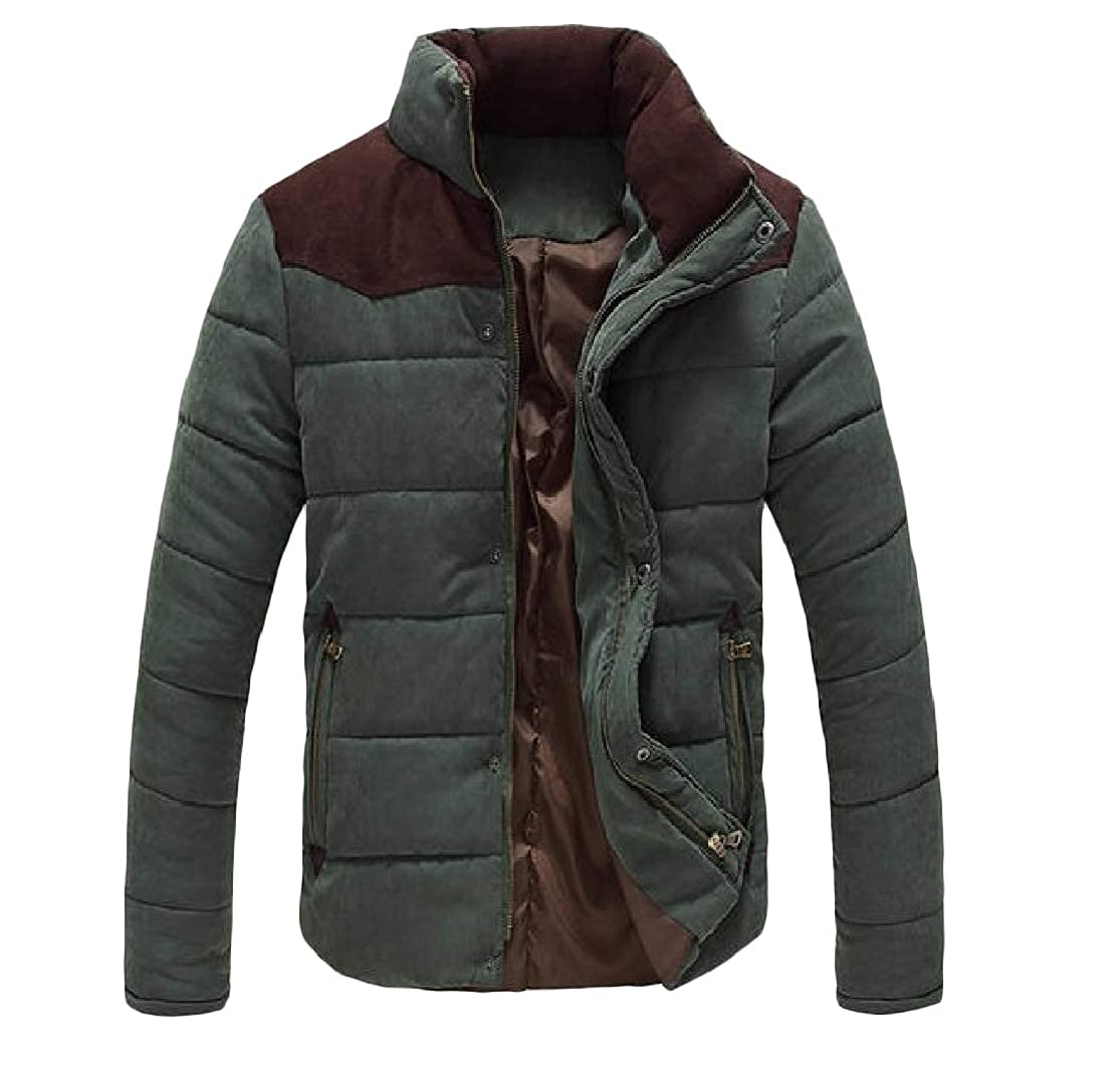 Colourful Mens Cotton Casual Oversized Stand Collar Zip Pocket Stitch Down Coat