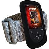 iGadgitz BLACK Silicone Skin Case Cover & Sports Gym Jogging Armband for SanDisk Sansa Fuze (+) + Screen Protector