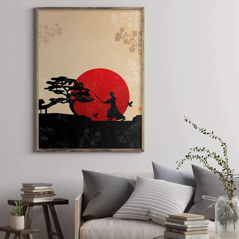 Japanese Tapestry Samurai Tiger Oriental Print Wall Hanging Decor