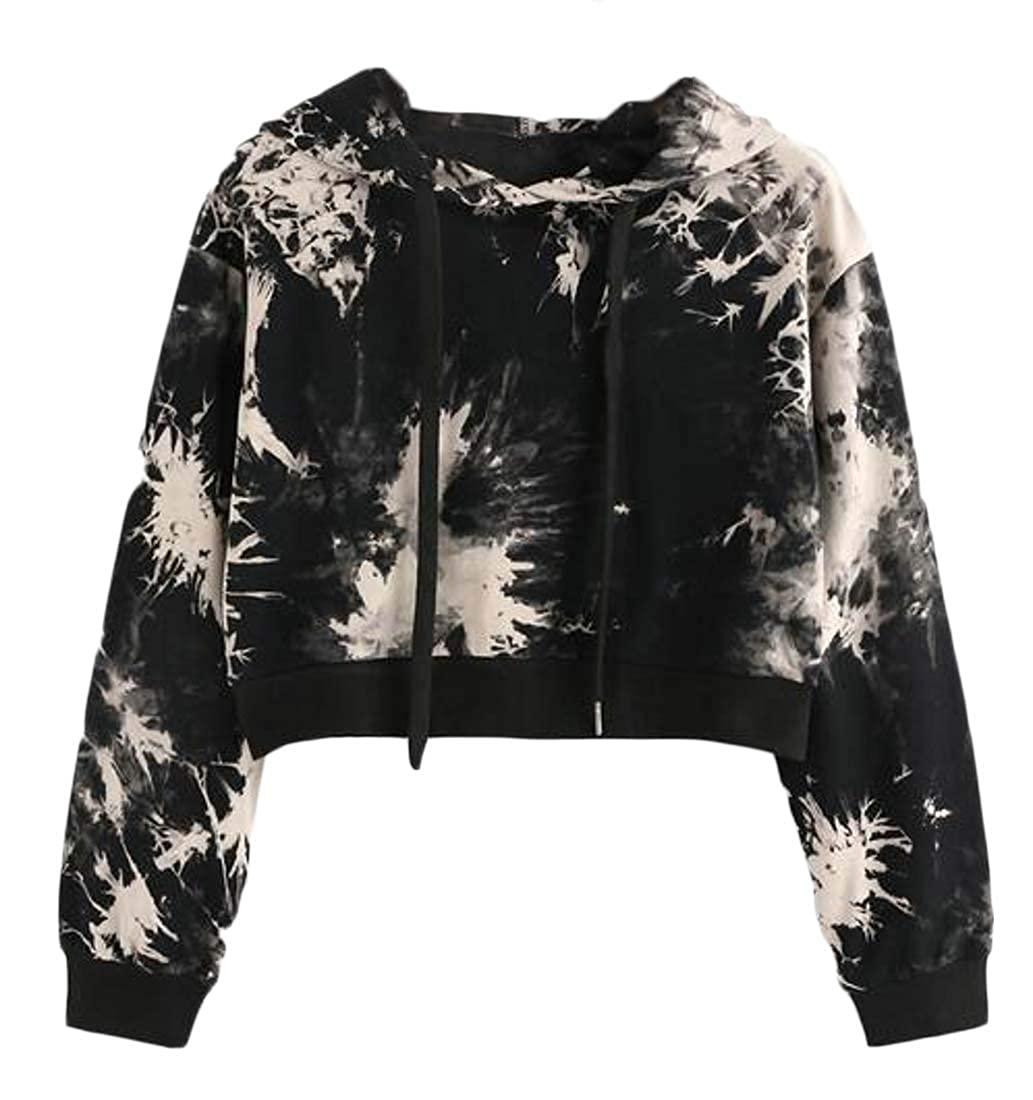 YYG Womens Tie Dye Print Short Crop Drawstring Pullover Hoodie Sweatshirts