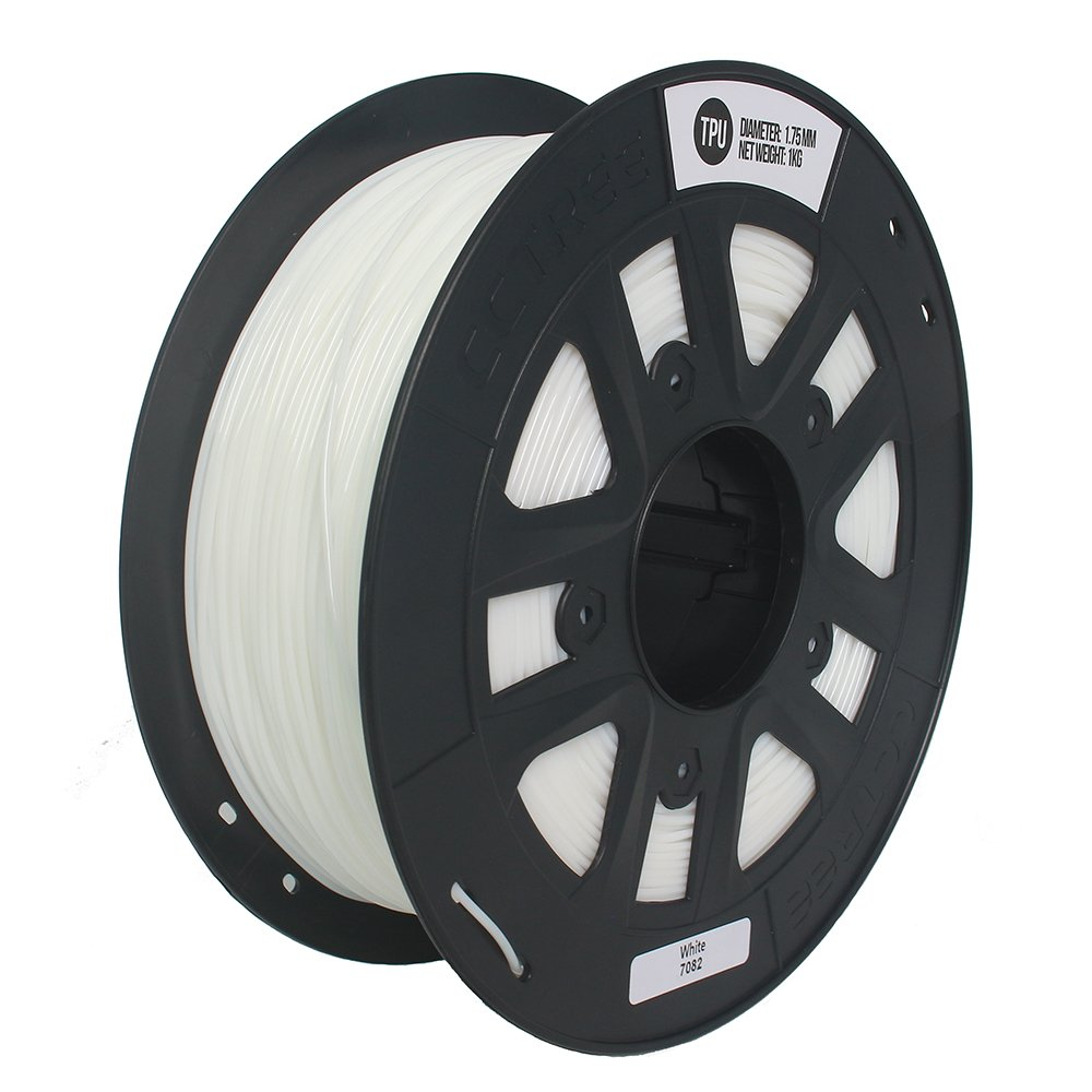 CCTREE 1.75mm TPU Flexible 3D Printer Filament Accuracy +/- 0.05 mm 1kg Spool (2.2lbs) for Creality CR-10  White