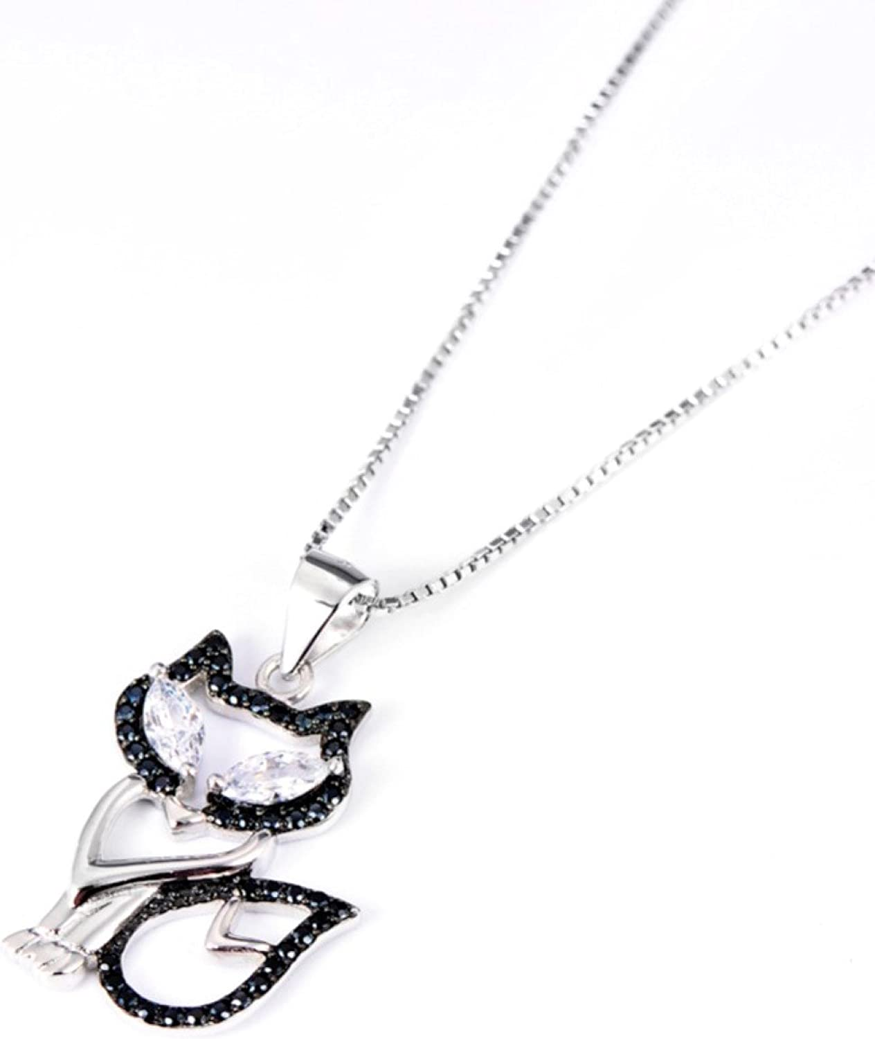 CS-DB Jewelry Ladies Black /& White Crystal Lucky Fox Pattern Silver Pendant